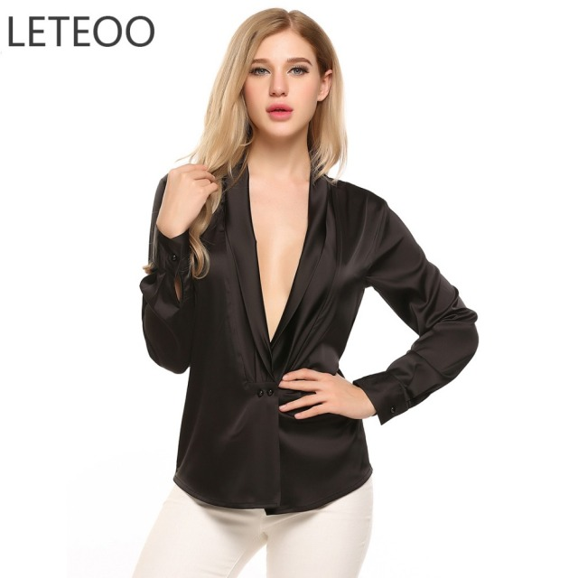 f38e0868d574b0 LETEOO Front Button Satin Blouse Kimono Cardigan Long Sleeve Womens Tops Deep  V-Neck Silk Blouse Office Ropa Para Mujer S20