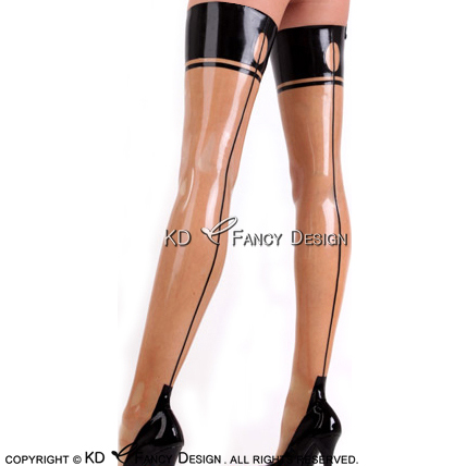 Transparent With Black Sexy Long Latex Stockings With Circular At Back Top Rubber Thigh high stockings