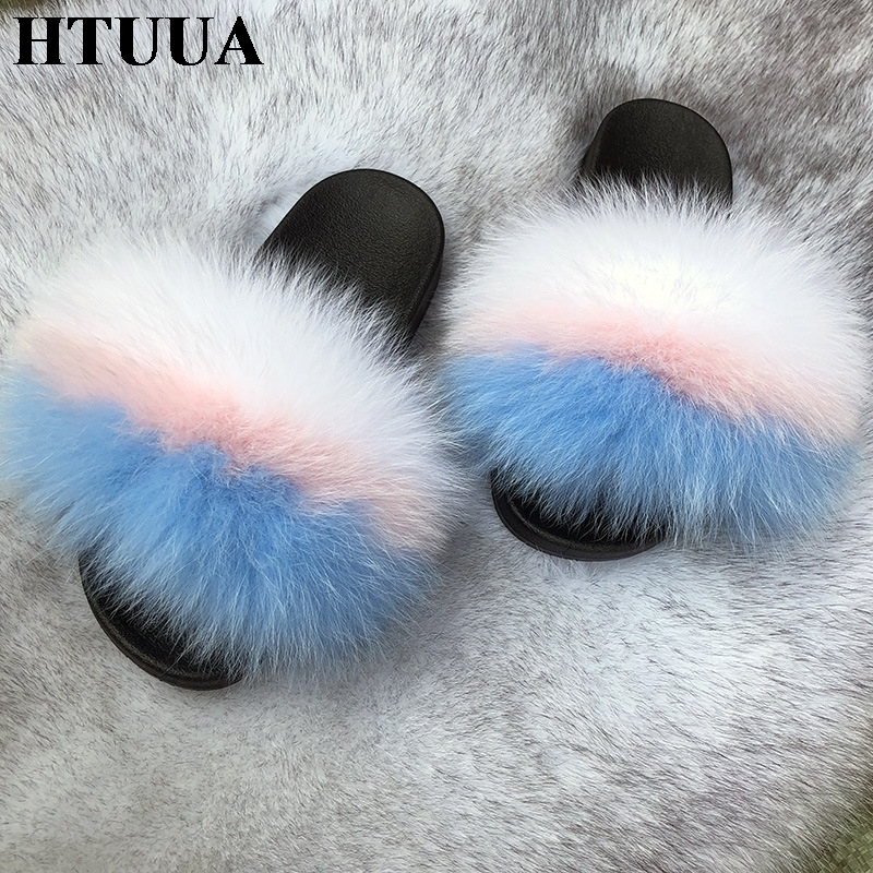 HTUUA Fur Slippers Women Flat-Shoes Plush-House Furry Fluffy Winter Ladies Indoor Warm