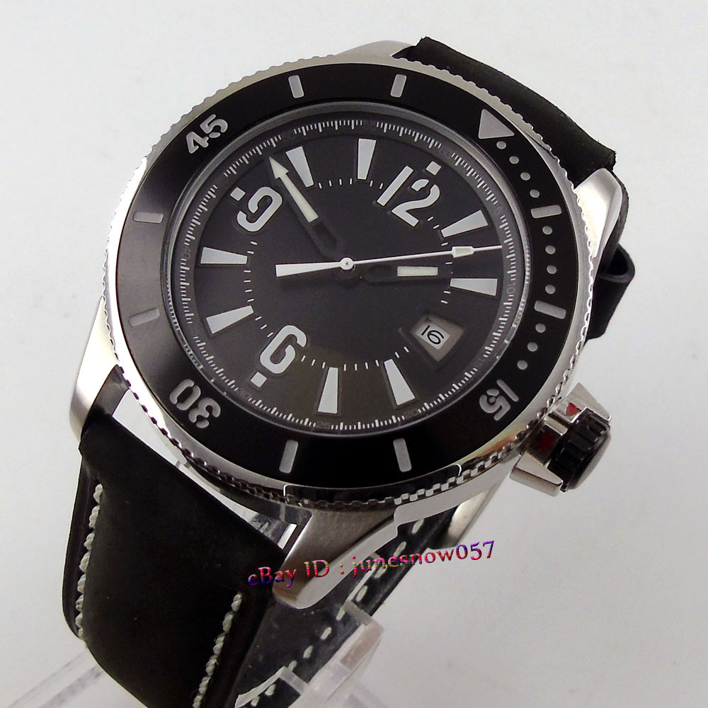 BLIGER 43mm black dial date display luminous ceramic bezel black leather strap MIYOTA Automatic men's watch цена и фото