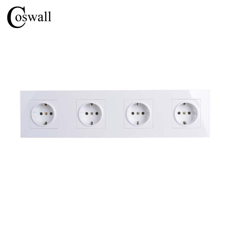 COSWALL High Quality Wall Power 4 Way Socket Plug Grounded, 16A EU Standard Electrical Quadruple Outlet 344mm * 86 mm