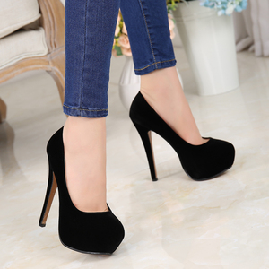 Image 2 - MAIERNISI Super High Heels Schuhe Flock Plattform Schuhe Mit Hohen Absätzen Pumpen Frauen Nachtclub Dünne Ferse Sexy Plus Große Größe 14cm High Heels