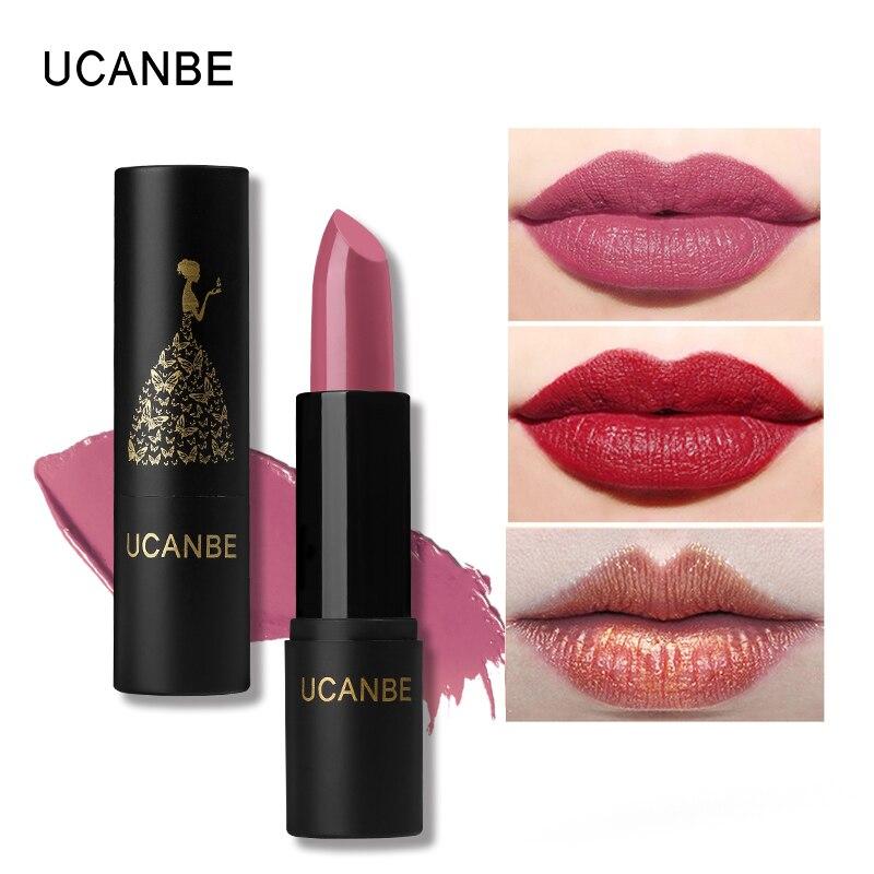 UCANBE 8 Colors Moisturizing Smooth Lipsticks Makeup Matte Shimmer Natural Long Lasting Waterproof Lip Stick Gloss Cosmetics