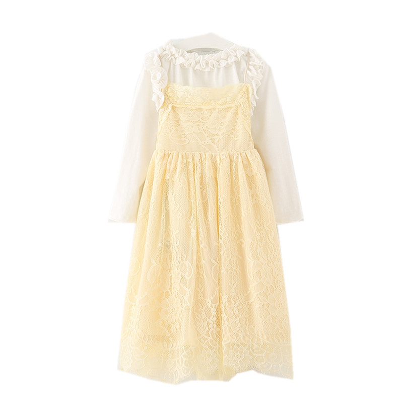 4 to 14 years kids & teenager girls two pieces sets cotton t-shirt with lace dress children fall winter princess party dresses