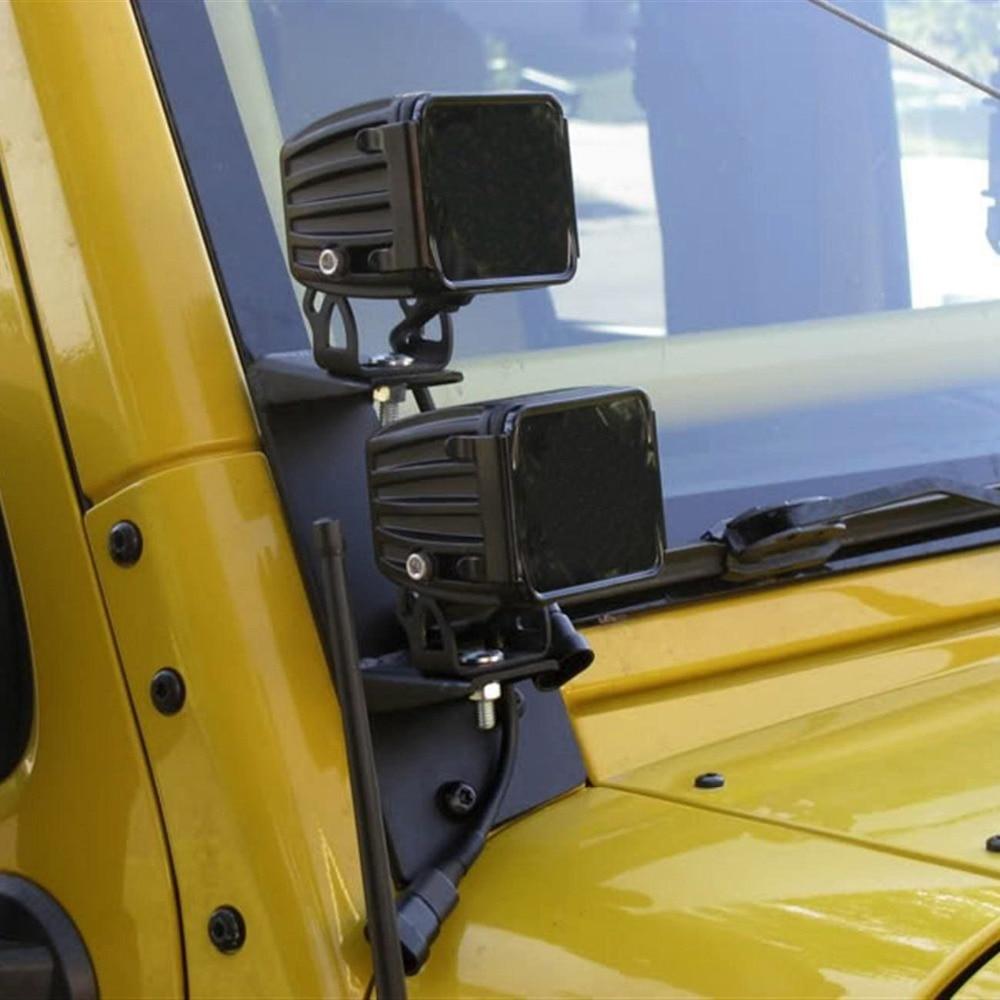 Windshield Hinge Lower Corner Brackets For Dual LED Work Lights on 2007 2017 for Jeep Wrangler