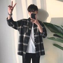 YASUGUOJI New 2019 Spring Fashion Plaid Shirts Oversized Lon