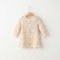 High Quality Baby Girls Lovely Lace A Line Dresses Girls Kids Summer Dress 0 5y Toddler