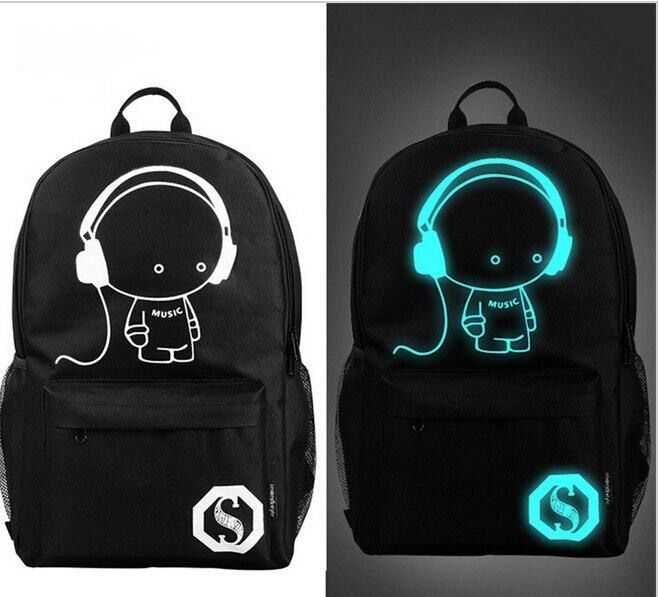 2017 nightlight fashion casual Men's mochila anime Luminous teenagers Men women's Student Cartoon School Bags travel Backpacks
