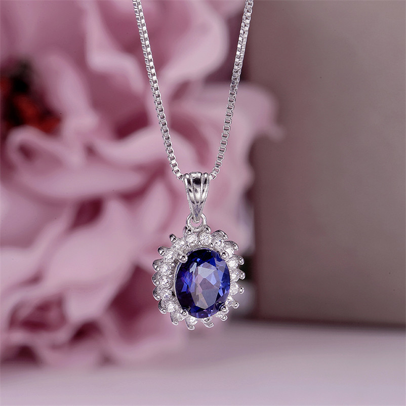 100% Natural Tanzanite Necklace Pendant For Women 925 Silver Blue Oval Gemstone Fine Jewelry Luxury Colar High Quality CCN013-1