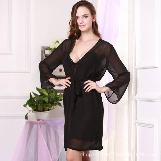 Г-жа весной и летом шелк шифон ночь юбка пижамы из двух частей шелк сексуальная ночная рубашка домой
