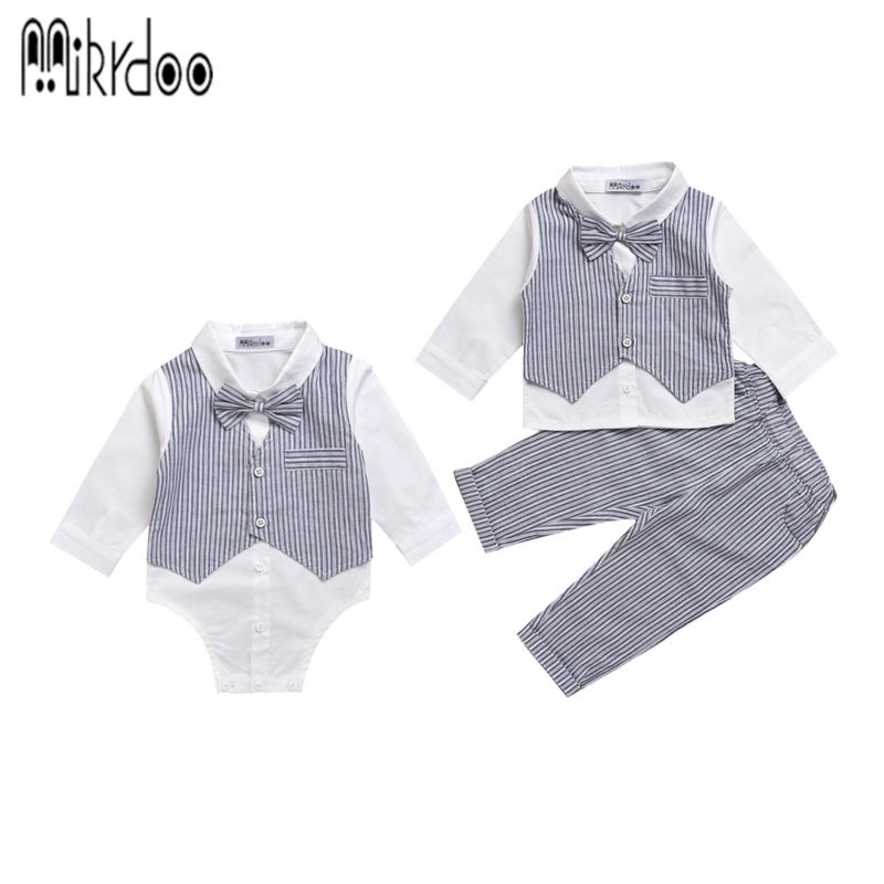 Baby boy gentleman clothes set 2017 striped pants bow shirt romper suit vest fake 2 pieces turn-down collar Age 0-2 Years kids clothing set plaid shirt with grey vest gentleman baby clothes with bow and casual pants 3pcs set for newborn clothes