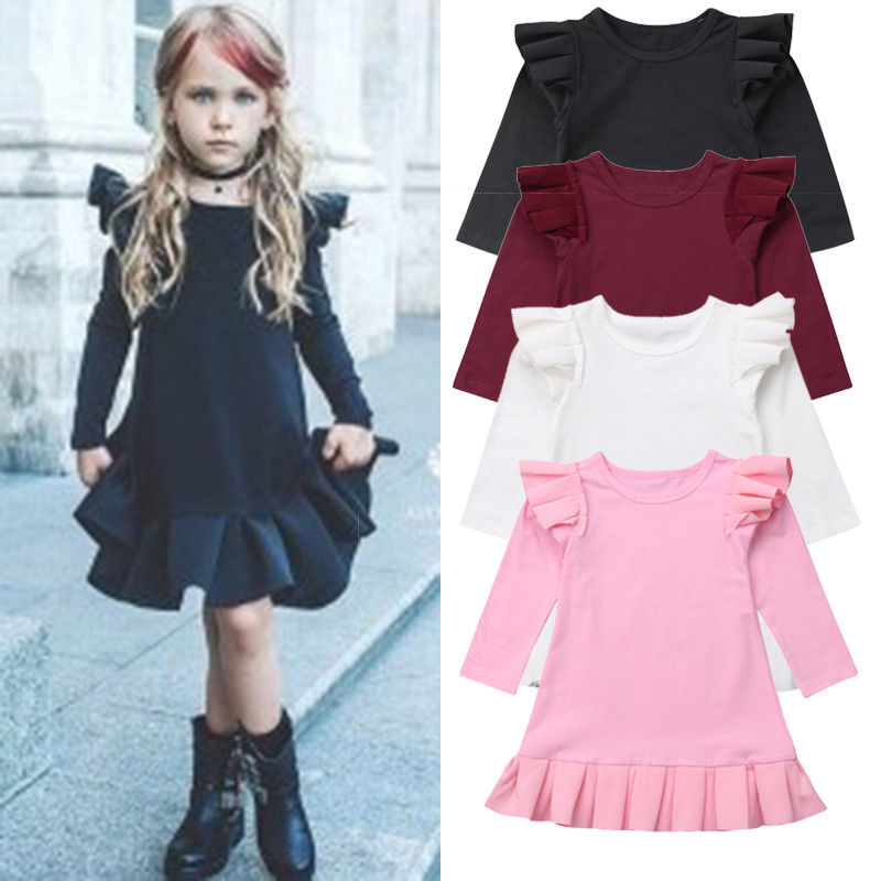 Kids Dress Long-Sleeve Baby-Girls Ruffles Sweet Autumn Outfit Infant Solid Knee-Length
