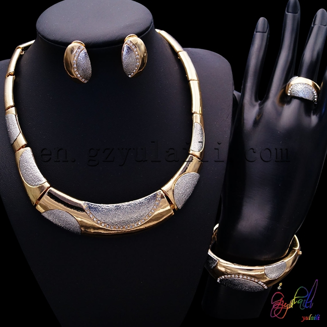Free Shipping High Quality Necklace Set Jewelry Round Statement Anniversary Copper Alloy Four Jewelry Set alloy fringe statement necklace