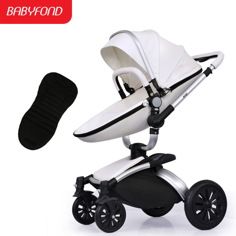 Baby stroller aiqi leather two-way four wheel baby car shock absorbers folding trolley brand baby strollers baby wheels lightweight strollers aiqi ultra light white frame good quality baby stroller baby umbrellacar boarding stroller accessories