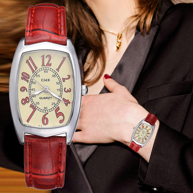 Leather Watches Women Business Band Men Quartz Watches Simple Red Black Creative