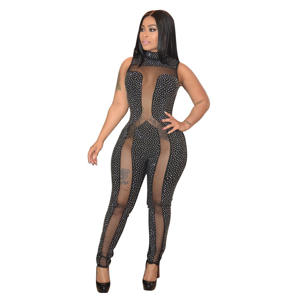 2019 Sexy Slim Women See through Mesh Jumpsuit Plus Size 3xl Women Crystal Diamond Long Jumpsuit Rompers Club Party Overalls