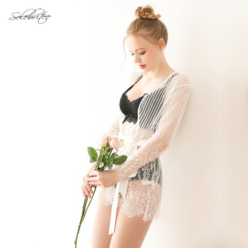 Selebritee Womens Sexy Lace Nightgown Long Sleeve Satin Sleepwear Nightwear Erotic Mesh Perspective with T-back Belt Robe Set