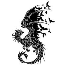 11.7cm*17.2cm Dragon Birds Creative Car Sticker Motorcycle Decal Black/Silver S3 5799
