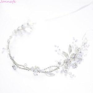 Image 4 - Jonnafe Charming Bridal Headpiece Silver Color Rhinestone Wedding Headband Tiara Handmade Hair Accessories For Bride