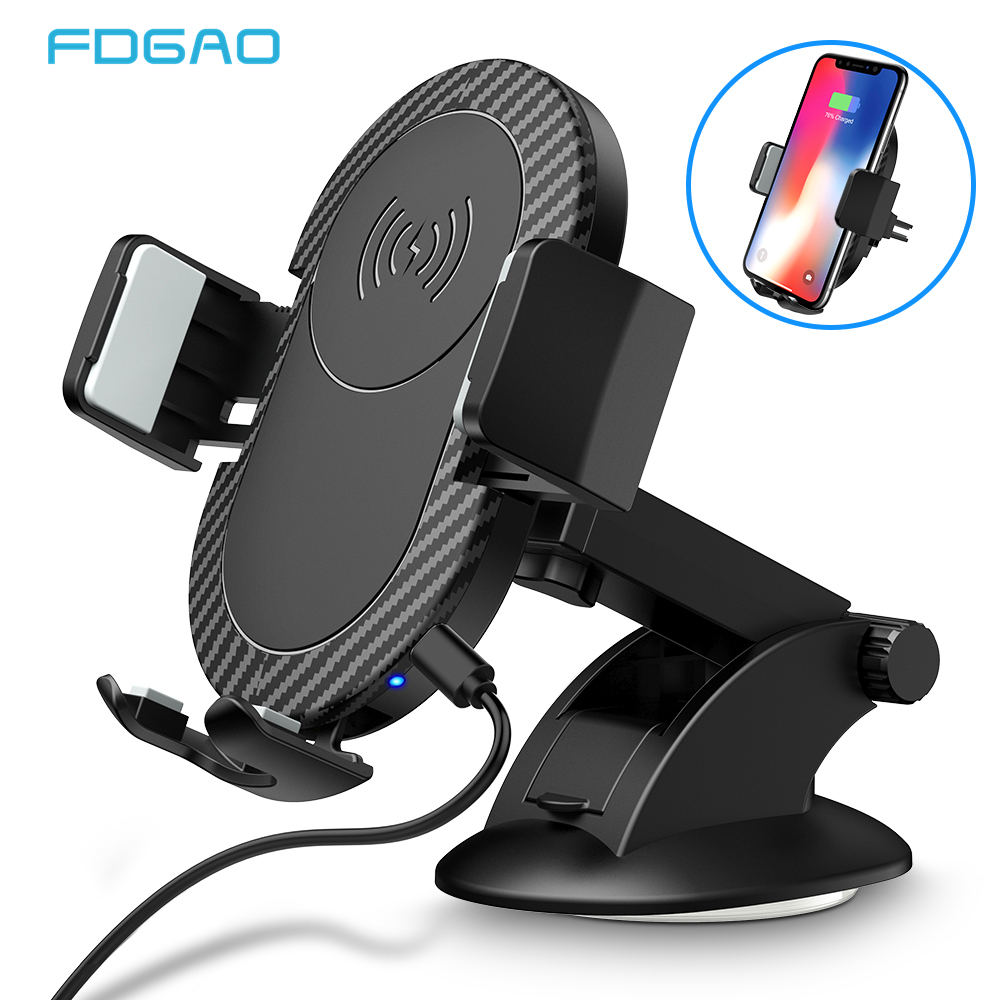 FDGAO Qi Car Wireless Charger For iPhone XS Max XR X 8 Samsung S10 S9 S8 Note 9 8 Fast Charging Air Vent Mount Car Phone Holder