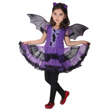 Kids Child Purple Vampire Vampiress Costumes for Girls Bat Girl Cosplay Fantasia Infantil Halloween Purim Mardi Gras Party Dress
