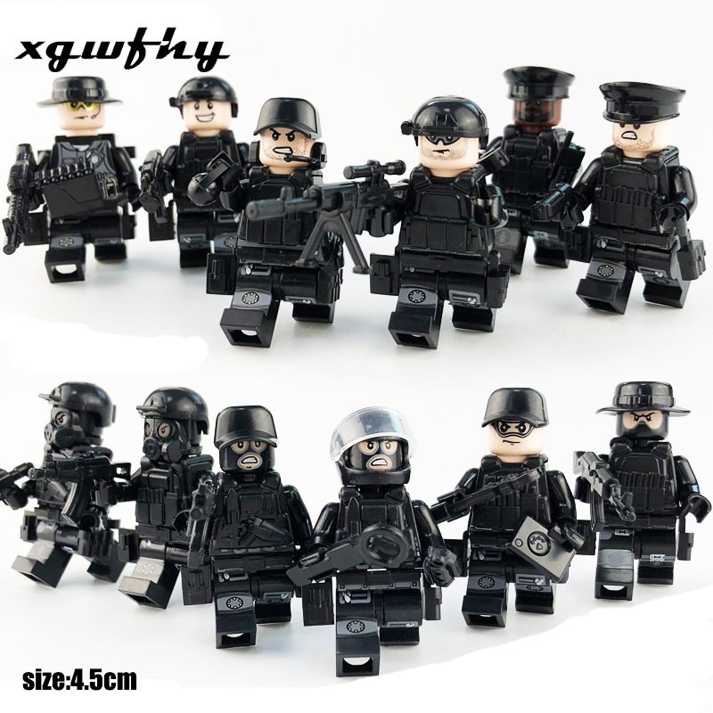 12Pcs/set Military Special Forces Soldiers Bricks Figures Guns Weapons Compatible Goings Armed SWAT Building Blocks Toys Jm64