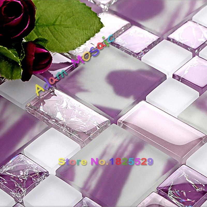 Purple Tile Backsplash Glass Mosaic Art Kitchen Tiles: Painted Glass Purple Mosaic Tiles Frosted Iridescent Tile