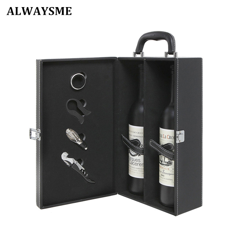 ALWAYSME 2 Bottle Modern Black Red Brown Top Handle Travel Wine Carrier Case Bag Organizer With 4 Piece Wine Accessory Tools Set