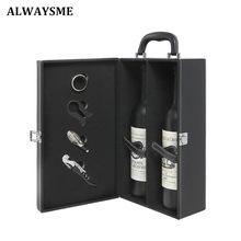 Alwaysme 2 garrafa moderna preto vermelho marrom alça superior viagem vinho transportadora caso saco organizador com 4 peças acessórios de vinho conjunto ferramentas