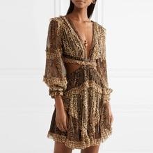 2018 Autumn New Arrival Deep V-neck Long Sleeve Women Mini-dress Vintage Flower Print Backless Sexy Female Fall Slim Dress