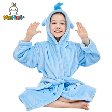MICHLEY Kids Bath robes Adorable Baby Girl Roupao Hooded Childrens Towel Elephant Bathrobes Beach Swimwear Boy Pajamas WEK-BL