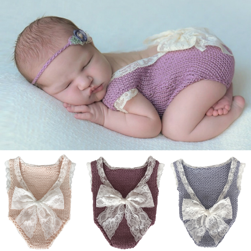 2018new Newborn Photography Props Costumes Baby Knitted Lace Romper Fotografia Princess Clothes With Big Lace Bow newest newborn photography props baby romper studio photography accessories lace romper back tie girls outfit baby girl lace