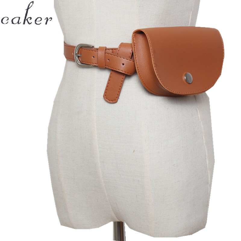 Caker Brand 2019 Women Brown PU Leather Waist Bag High Quality Half Circle Pack