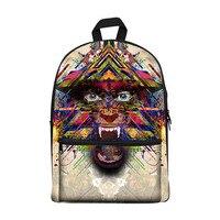 New 2017 Kawaii canvas Backpack for Girls Fashion Children School Bag Cute Monster roar Backpack Kids School Backpack