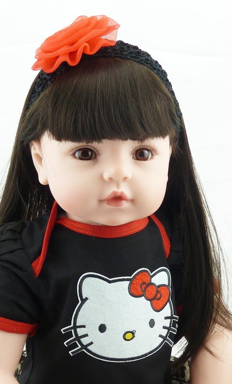 Nieuwe 55 cm reborn doll realistische zachte siliconen wedergeboorte pop lang haar leuke pasgeboren baby speelgoed kinderen kerstcadeau-in Poppen van Speelgoed & Hobbies op  Groep 2