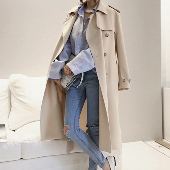 Hot sale 2018 Spring Autumn Brand Casual women Trench coat Windbreaker long Outerwear loose clothes lady W05