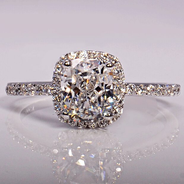 3CT Simulated Diamond 925 Sterling Silver Engagement Wedding Ring