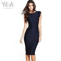 Yilia Elegant 2017 Jacquard Dress Women Black Navy Blue Red Green Yellow Pink Short Sleeve Stripe