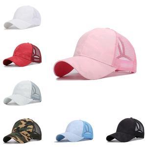 Messy Bun Hats Snapback-Cap Cross-Ponytail-Cap Mesh Criss Golf Running Women Hip-Hop