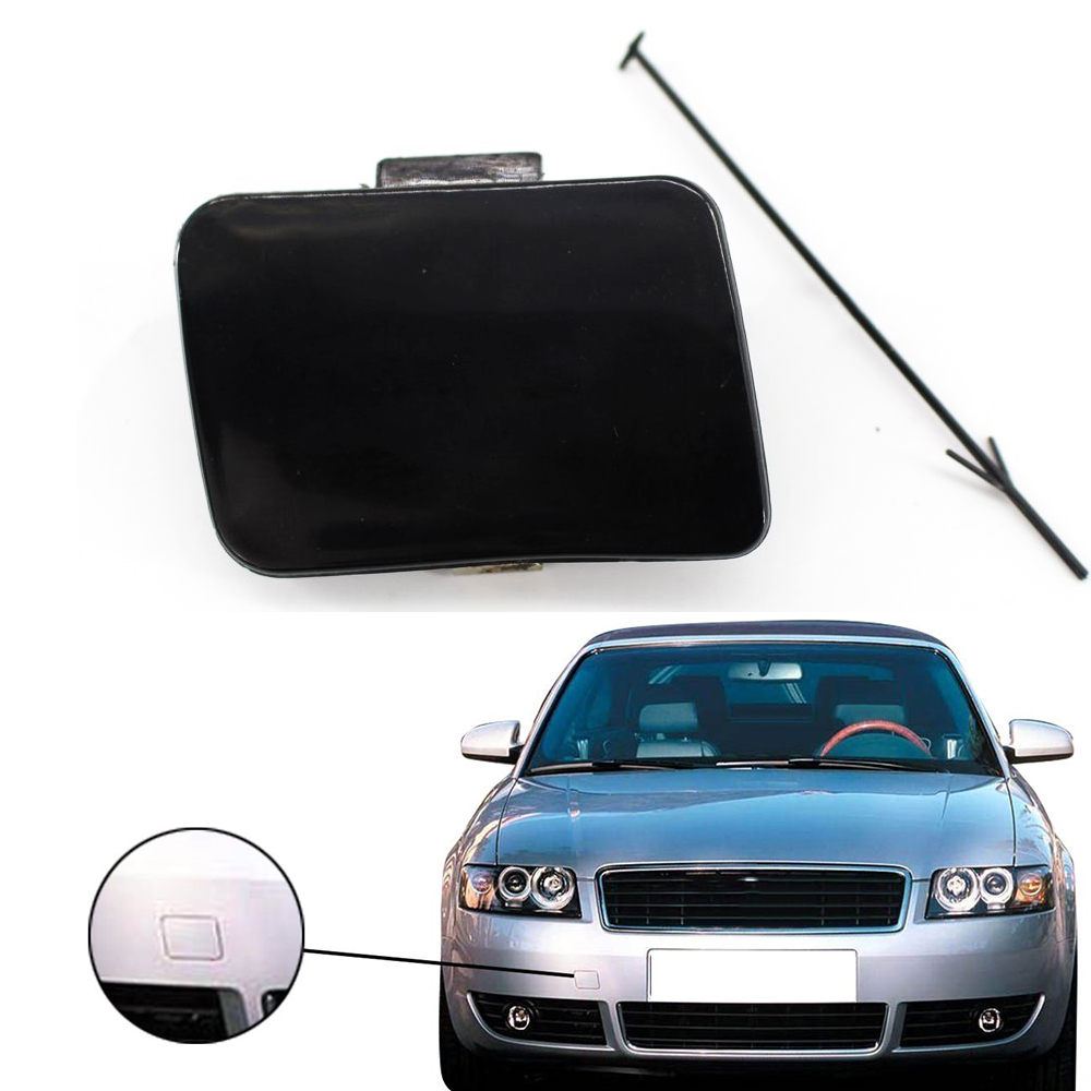 Car Front Bumper Tow Hook Cover Cap forAudi A4 B6 2002 2003 2004 2005 with Auto Tie Black Painted Paintable Accessories