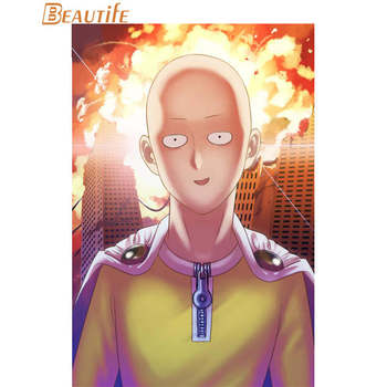Saitama One Punch Man Poster Cloth Silk Poster Home Decoration Wall Art Fabric Poster Print 30X45cm,40X60cm.50X75cm,60X90cm