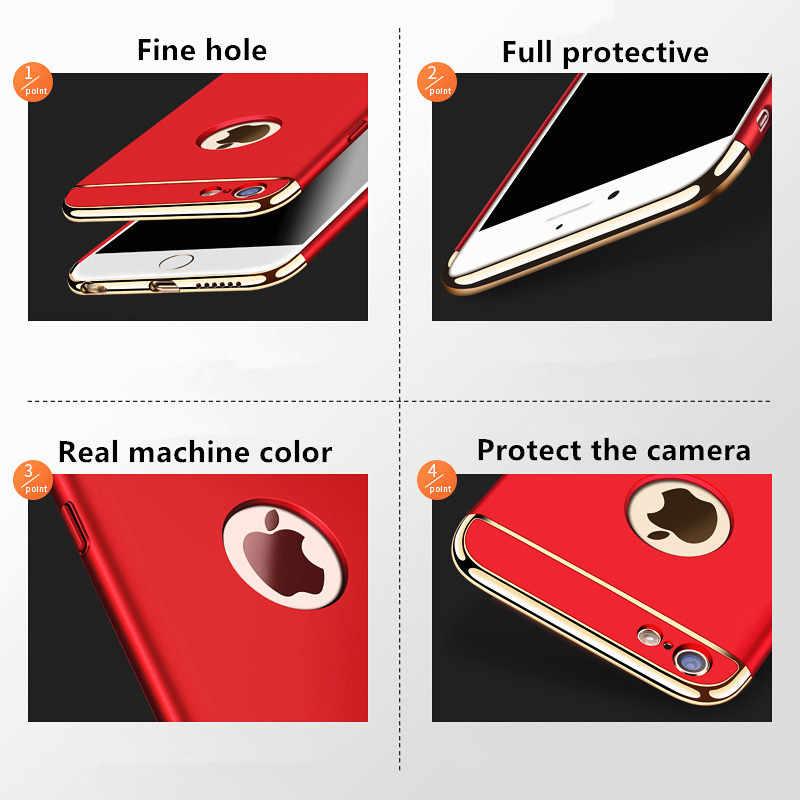 Lüks altın Hard Case iPhone 7 6 6s 5 5s SE X arka kapak Xs Max XR 11 Pro çıkarılabilir 3 in 1 durumda iPhone 8 7 6 6s artı çanta