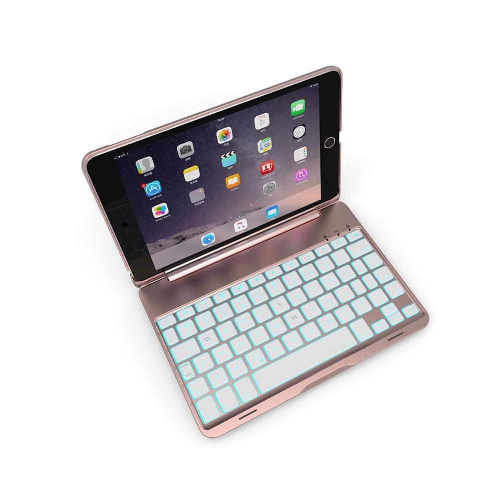 תאורה אחורית Case מקלדת Bluetooth אלחוטית עבור iPad Mini 4 עם תאורה אחורית LED צבעוני (2)