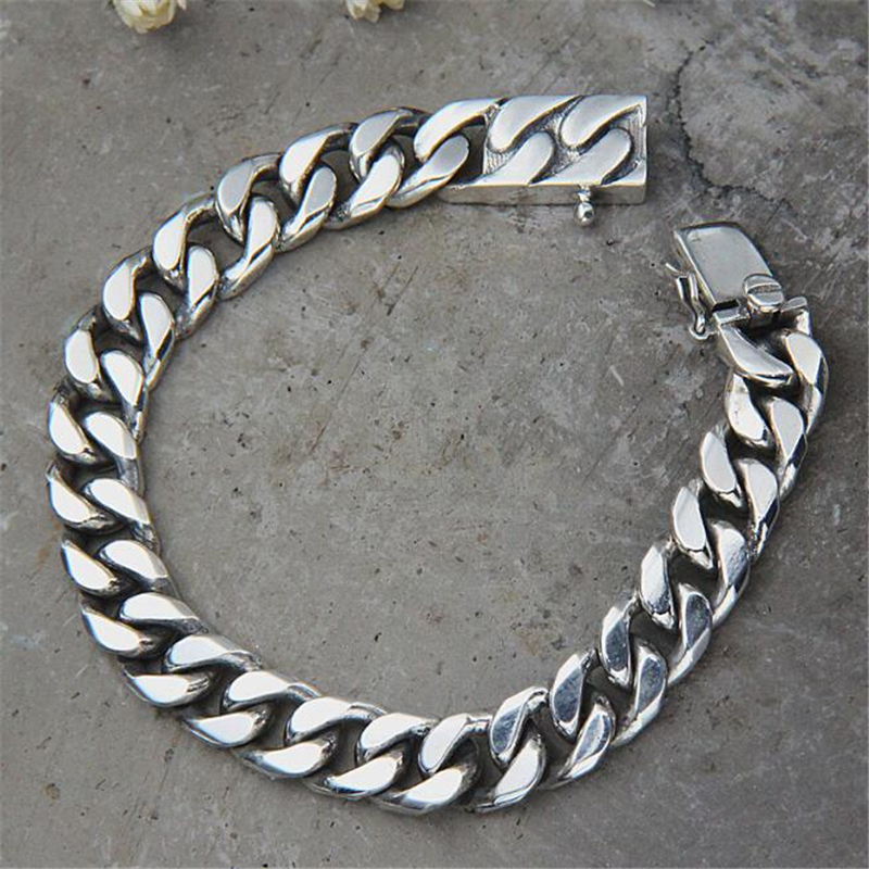Miami Cuban Chain Bracelet Men 925 Sterling Silver Curb Chain Link Bracelet Biker Hippie Hip Hop Men Jewelry Party Gifts in Bracelets Bangles from Jewelry Accessories