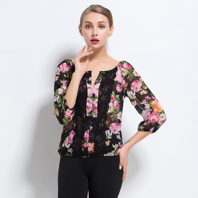 426a07853c7 High Quality Polyester Chiffon Shirt Women Tops Split Joint Sexy Multi Size  Summer Lace Blouse