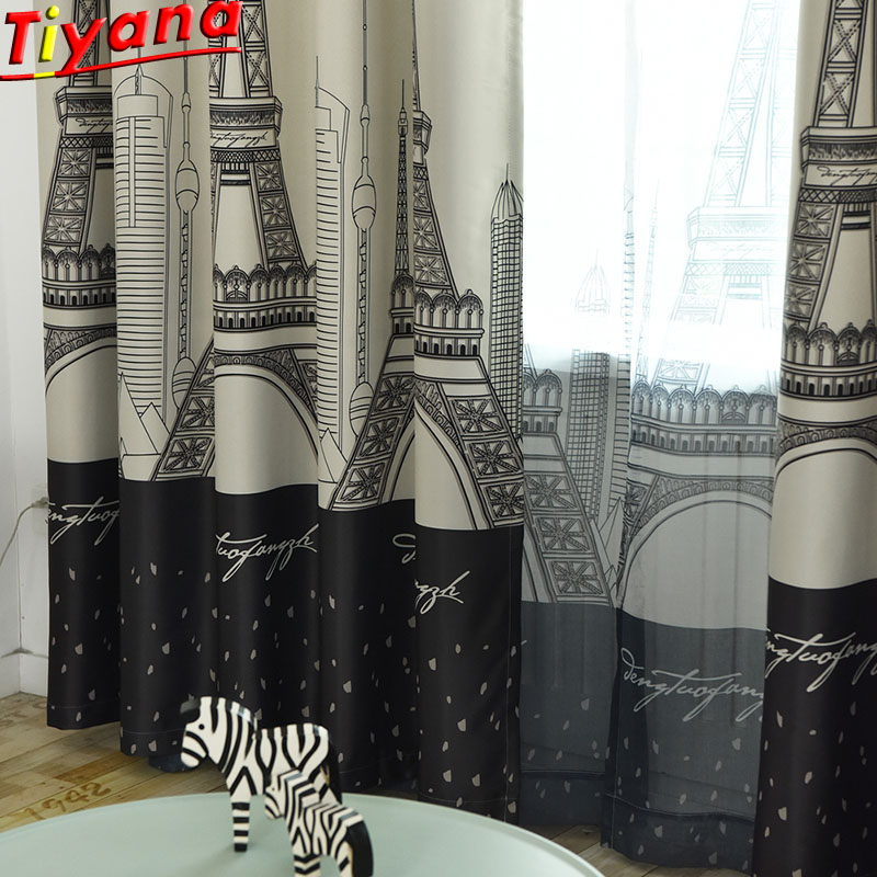 Europe And American Modern Tulle Curtains Paris Iron Tower Curtains Cloth For Living Room Bedroom Blackout Curtains  WP288#40