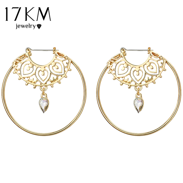 17KM Bijoux Gold Color Big Circle Round Hoop Earrings For Woman Boho Water Creol