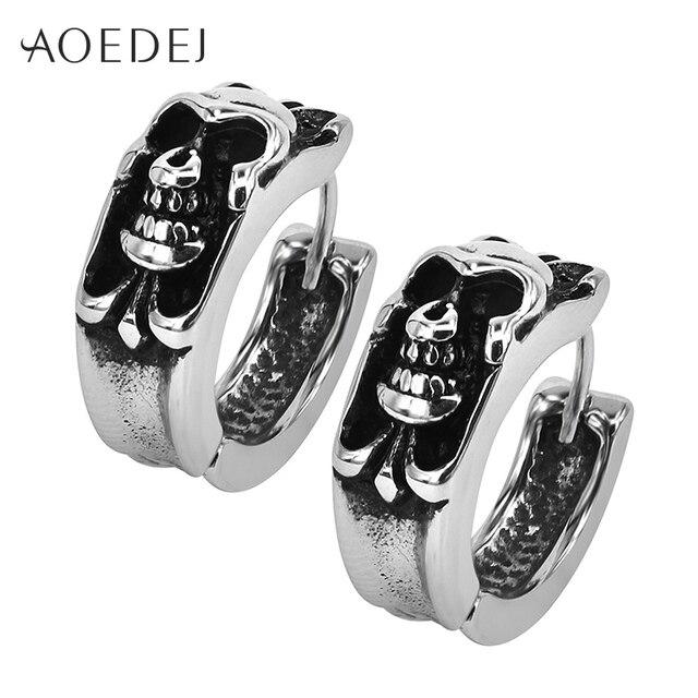 Aoedej Black Skull Small Hoop Earrings Men Stainless Steel Huggie For Mens Punk 12mm