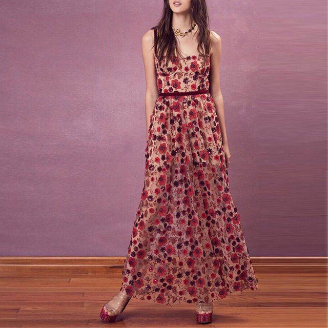 Floral 3-D Embroidery Maxi Women Love BBeatrice In Red Sequin Flowers Dress with Spaghetti Straps Underwire Cups Sequined Dress