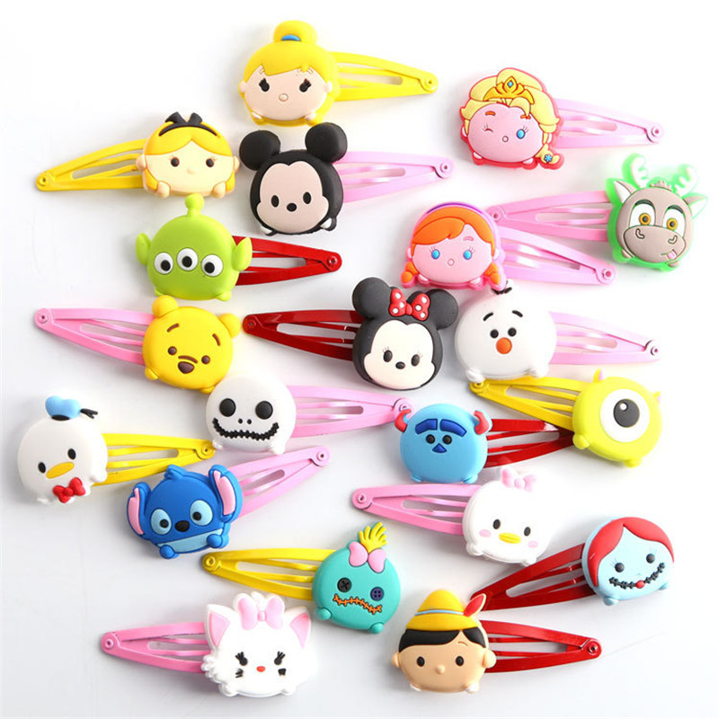 2pcs Tsum Tsum Baby Clip Hairpins Girls Barrettes Kids Headwear Multicolor Hair Clip Hair Kids Hair Band Travel Accessories 12pcs lot 4 inch diy grosgrain ribbon bow with clip kids hairpins children hair accessories 12 colors hairpins factory wholesale